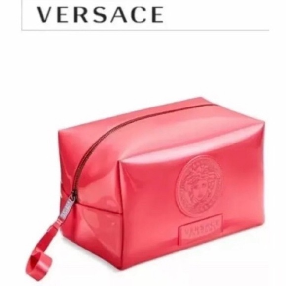 effaf50039 Versace Make Up Bag Pouch Organizer Coral Gold Zip